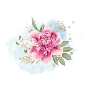 Satz zarter roter und weißer pfingstrosen aquarellillustration
