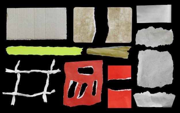 Satz zerrissenes papier auf schwarzem textfreiraum