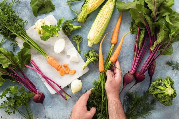 Satz zutaten zum kochen vegane gesunde ernährung