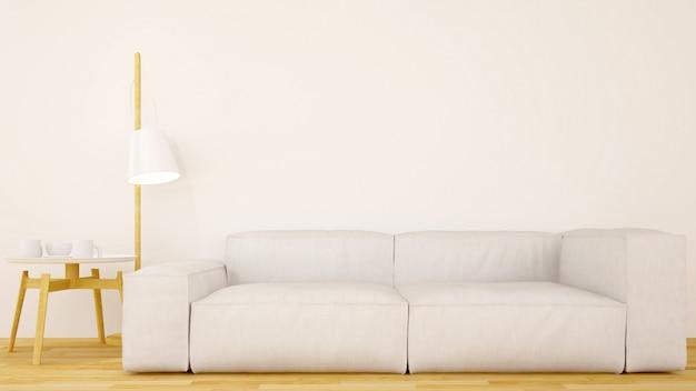 Saubere design-3d wiedergabe des wohnzimmers oder des cafés