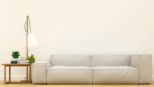 Saubere design-wiedergabe 3d des wohnzimmers