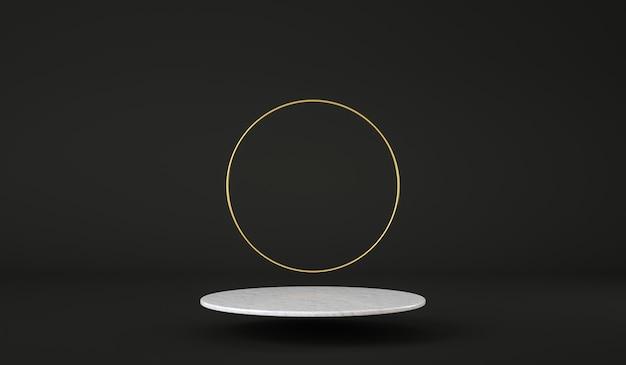 Saubere marmorplattform, die mit goldenem ring auf schwarzem hintergrund schwimmt, produktpräsentation d render