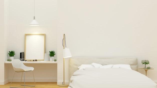 Sauberes design des schlafzimmers und des arbeitsplatzes - wiedergabe 3d