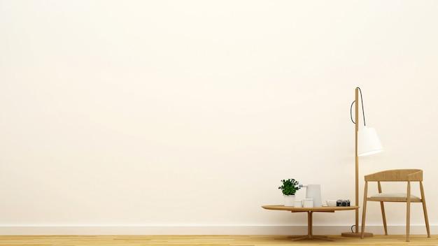 Sauberes design des wohnzimmers oder des cafés - wiedergabe 3d