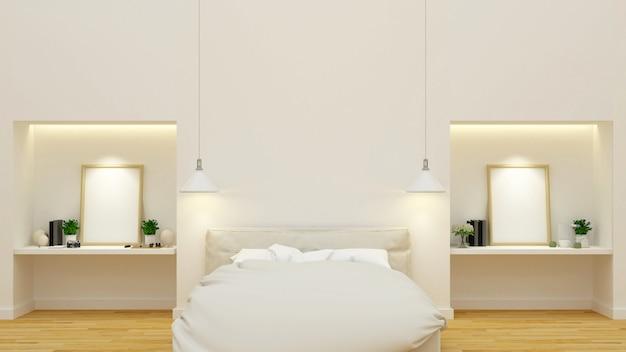 Sauberes design von schlafzimmern und arbeitsplätzen - 3d-rendering