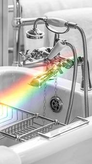 Sauberes hotelbadezimmer mit regenbogen-handytapete