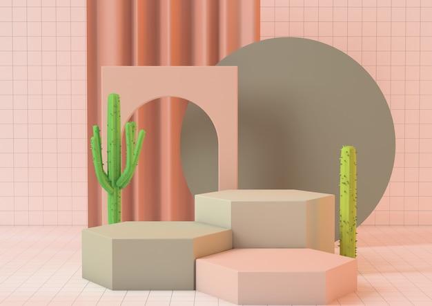 Sauberes produkt-sockelplattform des 3d-renderings in rosa pastellfarben mit kaktus auf rosa hintergrund