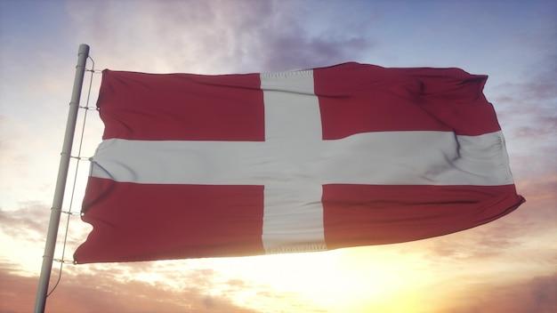 Savoyen-flagge, frankreich, im wind-, himmel- und sonnenhintergrund wellenartig. 3d-rendering