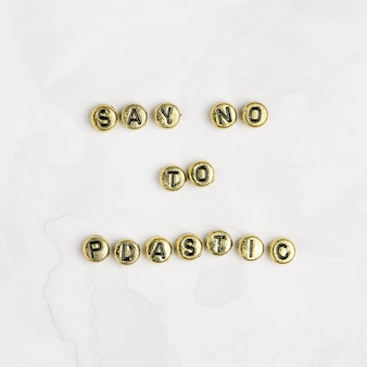 Say no to plastic zitat mit perlen