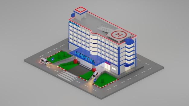 Scene creator emergency hospital eingang im isometrischen 3d-stil. 3d-rendering illustration