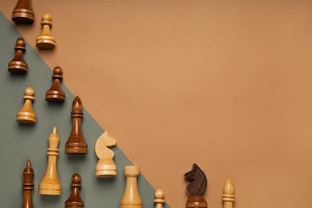 Schach auf einer flachen hintergrundoberansicht