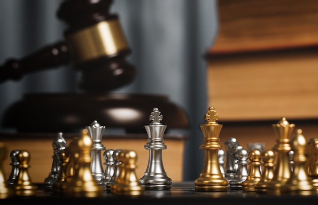 Schach im privaten büro des rechtsanwalts