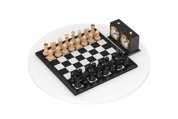 Schach mit schachbrett und schachuhr auf weißem hintergrund. 3d-rendering