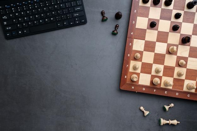 Schach online und strategiegeschäft von der draufsicht
