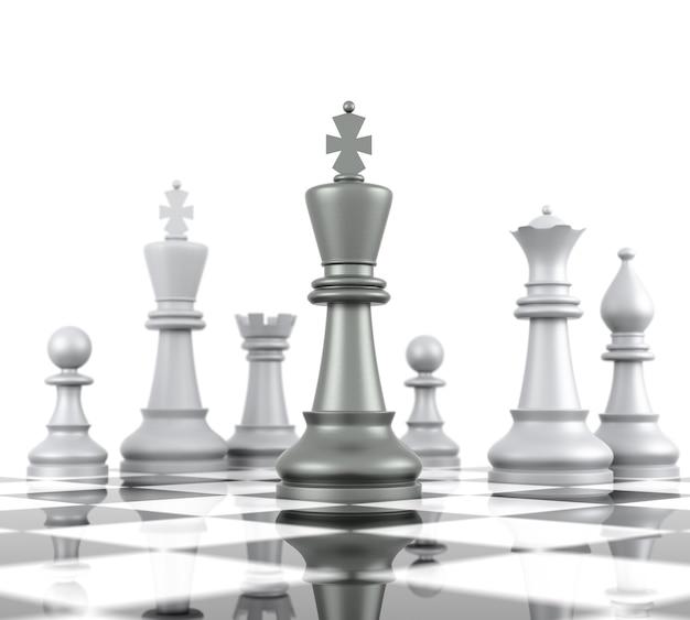 Schachbrett. isoliert auf weißem hintergrund. dreidimensionales rendering