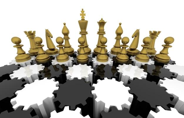 Schachbrett mit ausrüstung. dreidimensionale wiedergabe.