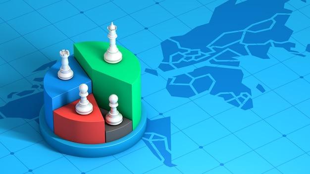 Schachfigur auf marktanteil, gewinner-strategie-wettbewerbsgeschäft, 3d-rendering