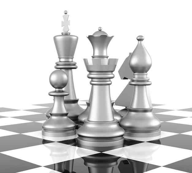 Schachfigur, isoliert auf weißem hintergrund. 3d-rendering Premium Fotos