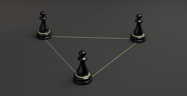Schachfiguren auf einem dreieck aus goldenen linien. zusammenarbeit. 3d-darstellung. banner.