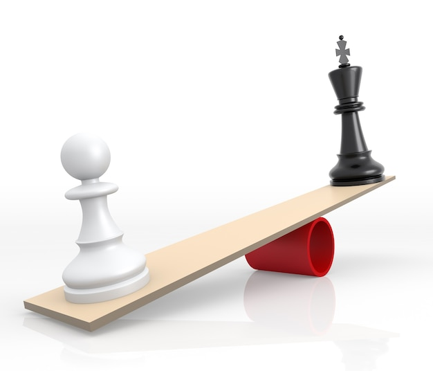 Schachfiguren auf waage. das rivalitätskonzept. 3d-rendering