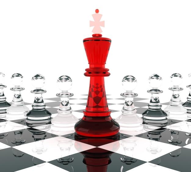 Schachkönig und bauern, bedeutet führung. dreidimensionale wiedergabe.