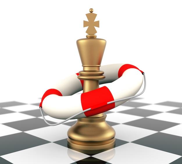 Schachkönig und rettungsring. dreidimensionale wiedergabe.