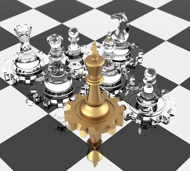 Schachkönig und zahnräder, die führung bedeuten. dreidimensionale wiedergabe.