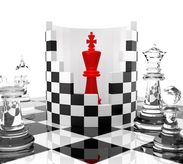 Schachkönig zu schützen. dreidimensionales rendering
