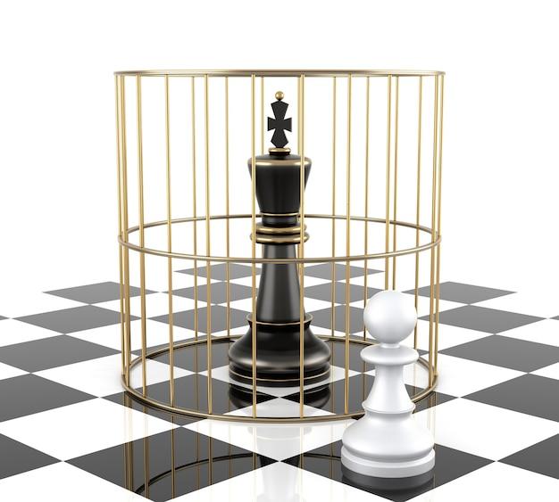 Schachkönig zu schützen. getrennt auf weiß. dreidimensionales rendering
