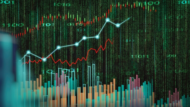 Schachspiel hinter dem forex-chart-hintergrund geschäftskonzept zur präsentation von finanzinformationen