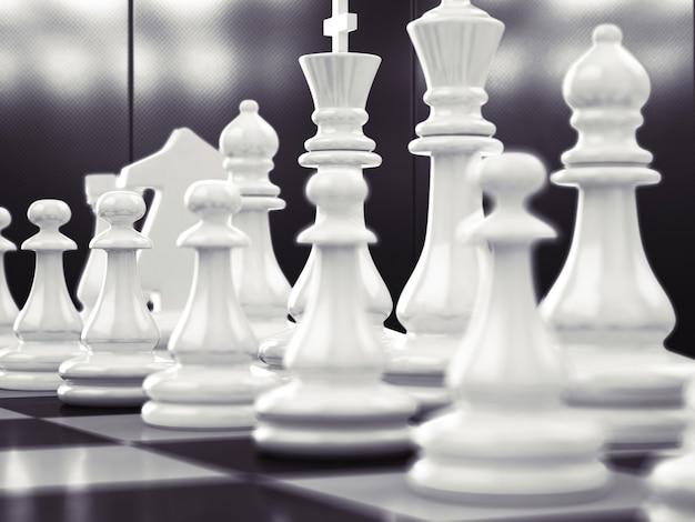Schachspiel mit weißem und schwarzem brett