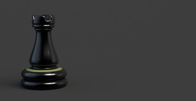 Schachspiel turmfahne. stück. 3d-darstellung.