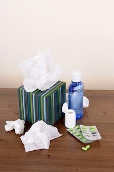 Schachtel taschentücher mit medizin