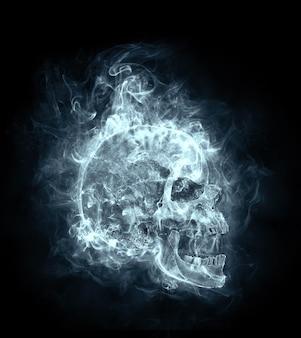 Schädel im rauch