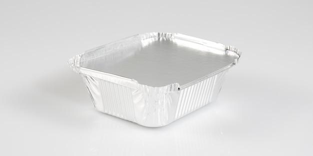 Schälchen in einem chrom-aluminium-tablett zum mitnehmen