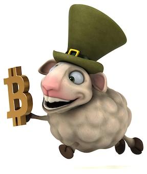 Schafe und bitcoin - 3d-illustration