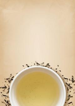 Schale grüner tee auf alter beschaffenheit des braunen papiers