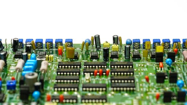 Schaltung motherboard detail elektronische komponentenmikrochips kondensatoren oder widerstandstechnologie