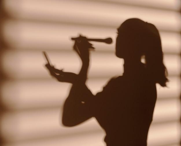 Schatten der frau mit verschiedenen kosmetika