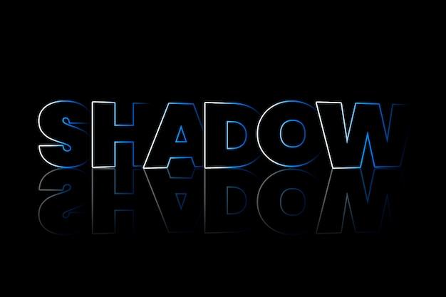 Schatten-schatten-typografie auf schwarzem hintergrund