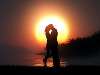 Schattenbild 3D eines liebevollen Paares gegen eine tropische Sonnenunterganglandschaft