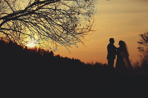 Schattenbild der braut und des bräutigams draußen im park bei sonnenuntergang am sommer.