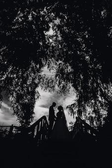 Schattenbild der paarbraut und -bräutigams am hochzeitstag
