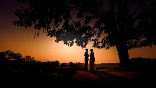 Schattenbild des hochzeitspaares in der liebe, die hand während des sonnenuntergangs mit abendhimmel küsst und hand zusammenhält