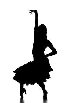 Schattenbild des lateinischen weiblichen tänzers in der aktion.