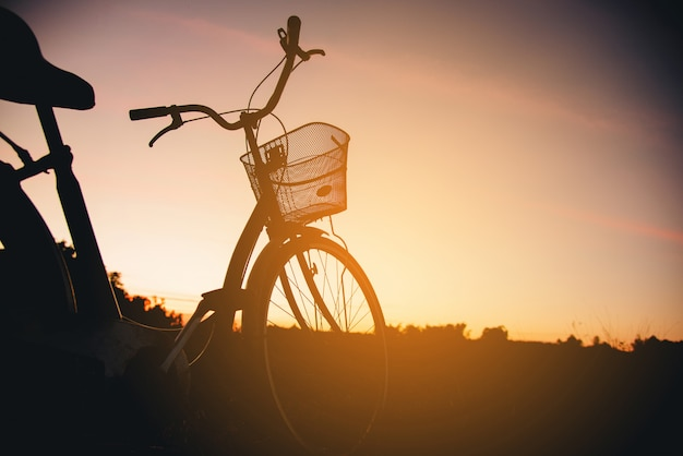 Schattenbild des weinlese-fahrrades am sonnenuntergang