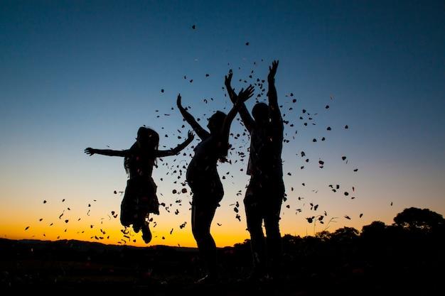 Schattenbild einer glücklichen familie auf sonnenuntergang