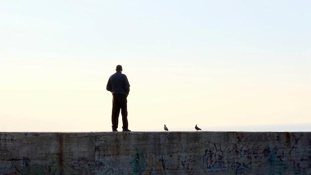 Schattenbilder des mannes und der tauben, die am pier bei sonnenuntergang stehen