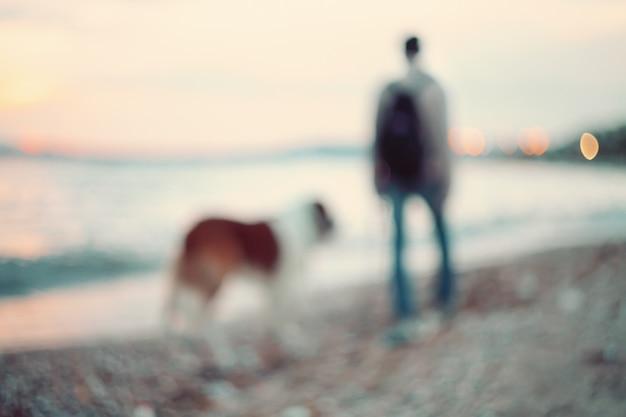 Schattenbilder des mannes und des hundes, die entlang die küste gehen. abendspaziergang bei sonnenuntergang.