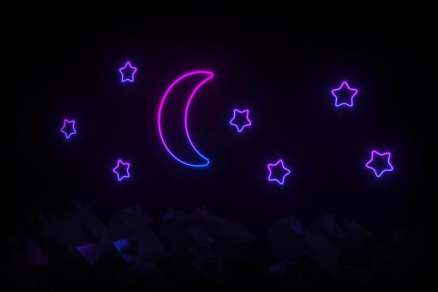 Schattenbilder von kleinen dorfhäusern mit geneigten dächern belichtet durch illustration des neonmondes und der sterne 3d
